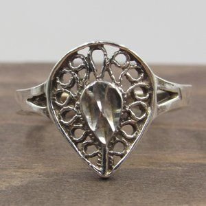 Size 6 Sterling Rustic Odd Pattern Diamond Ring